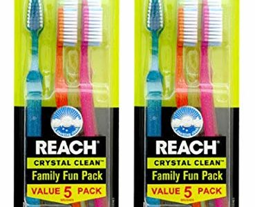 Reach Crystal Clean Family Fun Pack MediumToothbrushes, 5 Count (Pack of 2) Review