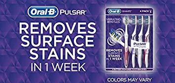 Oral-B Pulsar 3d White Advanced Vivid Soft Toothbrush (4 pack)