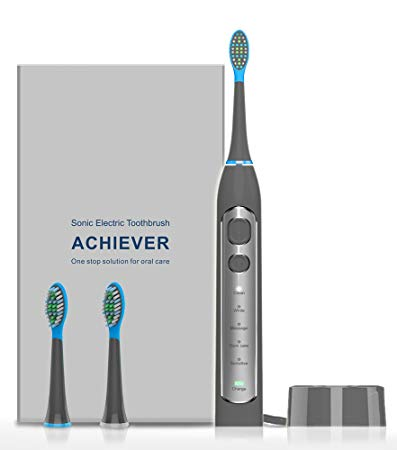 Sonic Electric Toothbrush, LIFANTE Electric Toothbrush with 2 Replacement Heads 5 Brushing Modes with Build...