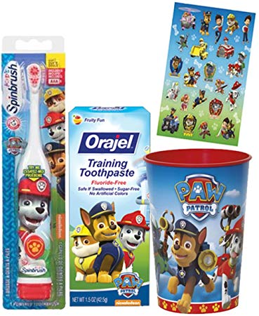Paw Patrol Marshall Inspired Toothbrush - 3pc. Little Pup's Bright Smile Oral Hygiene Trainning Set! Plus...