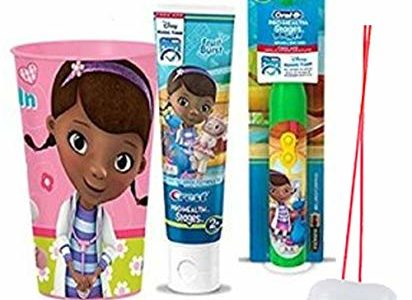 Doc McStuffins Inspired 3pc Bright Smile Oral Hygiene Set! (1) Doc Turbo Powered Toothbrush, Fruit Burst… Review