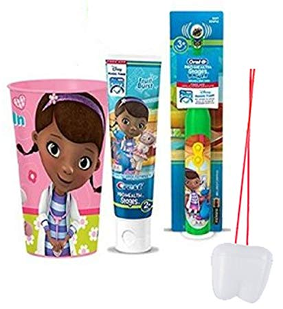 Doc McStuffins Inspired 3pc Bright Smile Oral Hygiene Set! (1) Doc Turbo Powered Toothbrush, Fruit Burst...