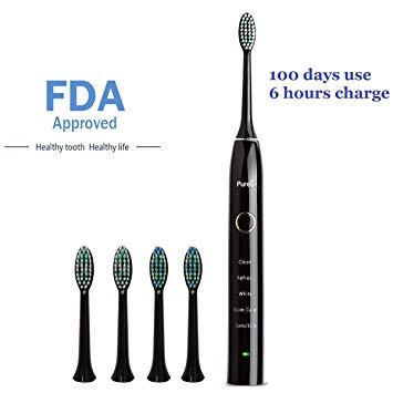 Sonic Electric Toothbrush Travel Rechargeable for Superior Dental Hygiene Daily Clean, Gum Care, Sensitive,...