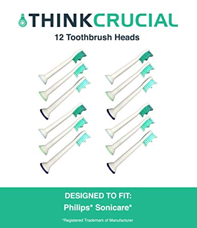Think Crucial HX-6013 12 Electric Toothbrush Replacement Heads for Philips and Sonicare