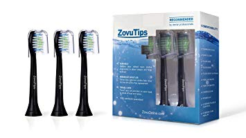 20 HX6064 Black Premium Quality ZovuTips Replacement Toothbrush Heads Compatible With Philips...