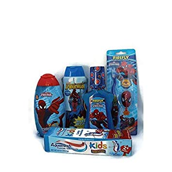 Spiderman 5 Piece Oral Tooth Care Bath Bundle: Aquafresh Toothpaste, Mouthwash, Toothbrush, 2 in 1...