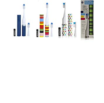 Violife Slim Portable + Sonic Toothbrush Set, Designs As Pictured, 4 Count, Ocean, Candy Stripe,...